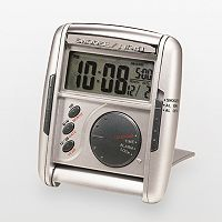 Seiko Get Up & Glow Silver Tone Travel Alarm Clock - QHL004SLH