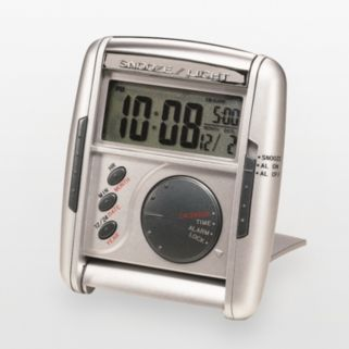 Seiko Get Up and Glow Silver Tone Travel Alarm Clock - QHL004SLH