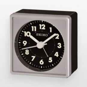 Seiko Black and Silver Tone Alarm Clock - QHE083SLH