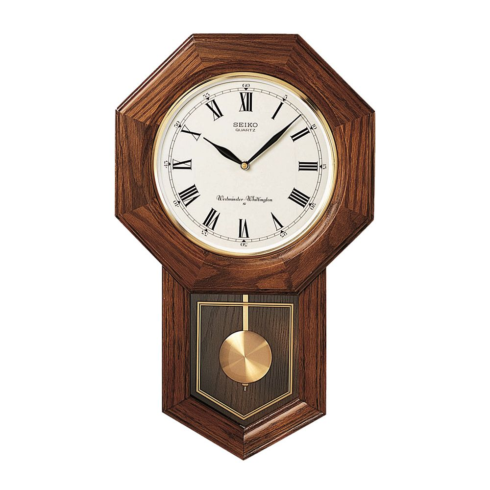 Seiko Oak Schoolhouse Pendulum Wall Clock   QXH102BC. Oak Schoolhouse Pendulum Wall Clock   QXH102BC
