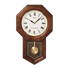 Seiko Oak Schoolhouse Pendulum Wall Clock - QXH102BC