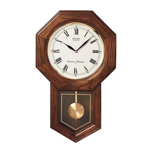 Seiko Oak Schoolhouse Pendulum Wall Clock Qxh102bc