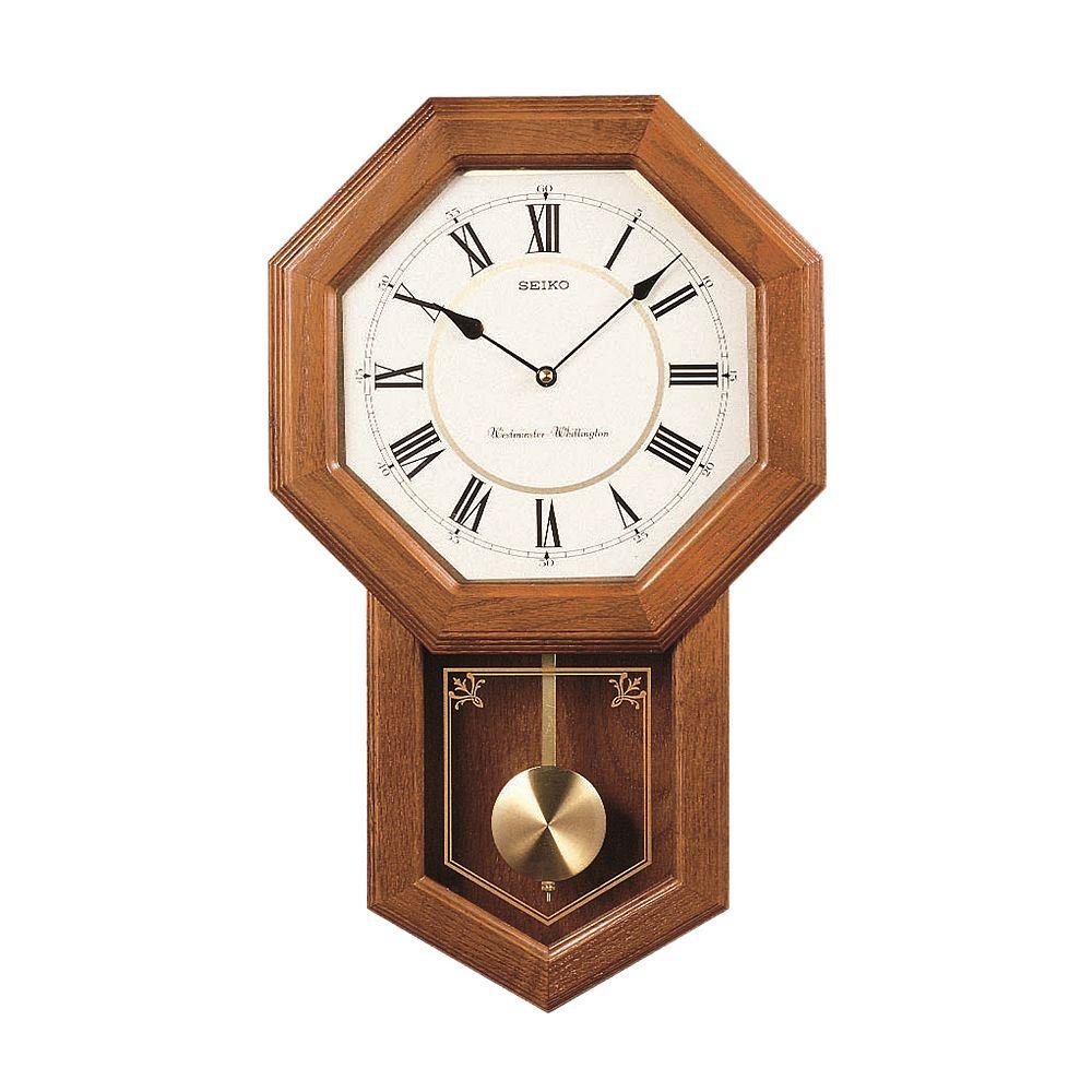 Clocks wall decor home decor kohls seiko oak schoolhouse pendulum wall clock qxh110blh amipublicfo Image collections
