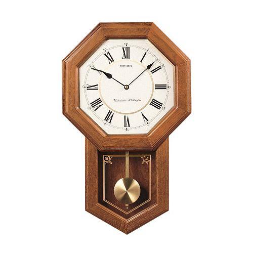Seiko Oak Schoolhouse Pendulum Wall Clock Qxh110blh