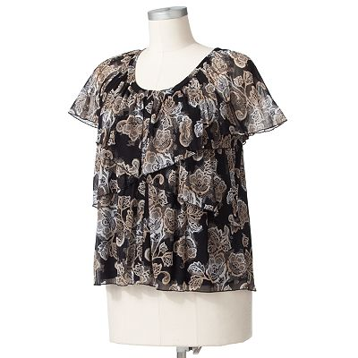 Apt. 9 Ombre Floral Mesh Top - Women's Plus