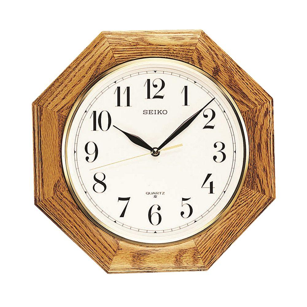 Seiko Oak Octagon Wall Clock   QXA102BC. Oak Octagon Wall Clock   QXA102BC