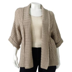 SONOMA life + style Open-Work Textured Cardigan - Women's Plus