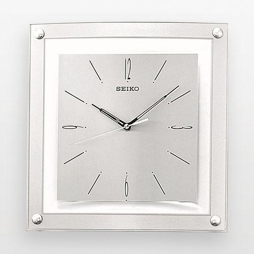 Seiko Silver Tone Square Wall Clock Qxa330slh