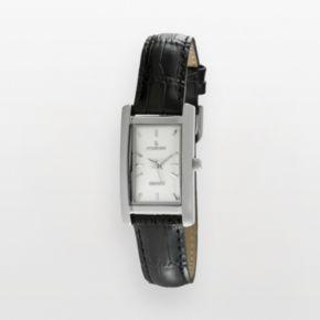 Peugeot Silver Tone Black Leather Watch - 3008SBK - Women