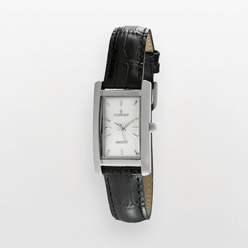 Peugeot Silver Tone Black Leather Watch - 3008SBK - Women