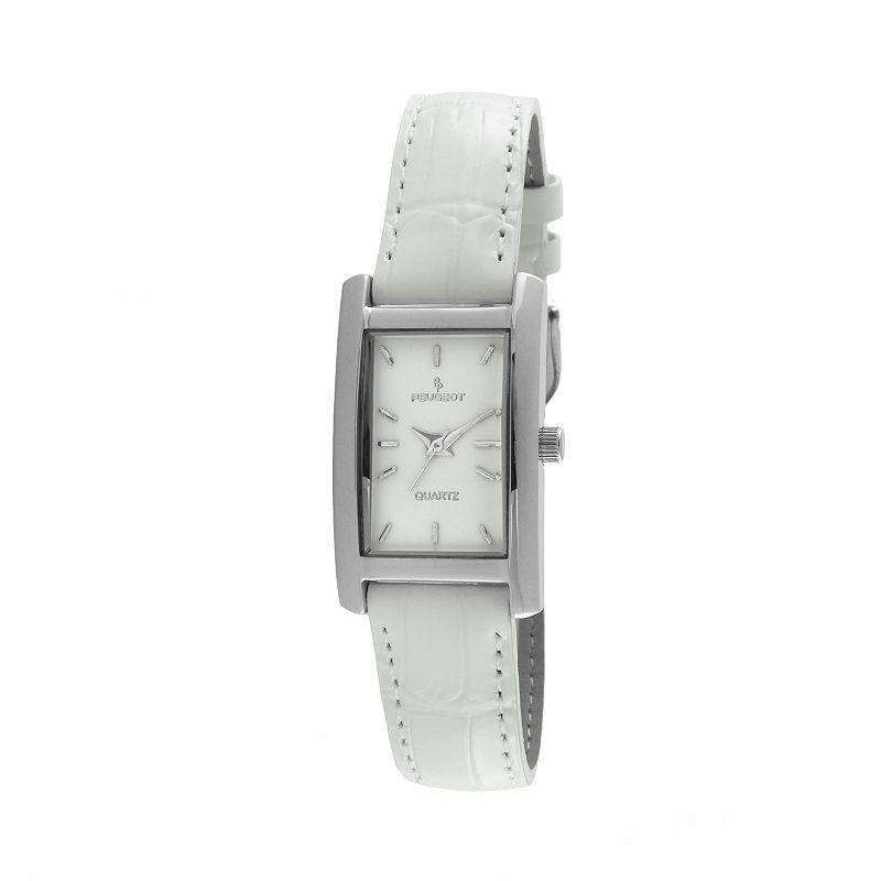 Peugeot Silver Tone White Leather Watch - 3008WT - Women