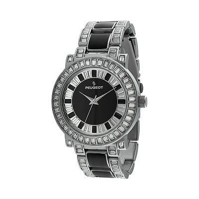 Peugeot Silver Tone Crystal Watch - Made with Swarovski Elements - J6311SBK - Women