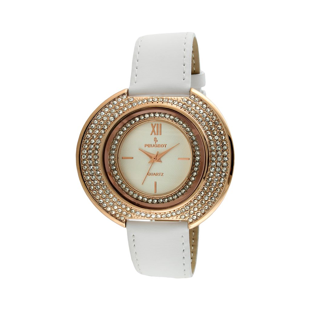 Peugeot Women's Crystal Leather Watch - J6371RWT