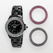 Peugeot Silver Tone and Black Ceramic Crystal Watch Set - Made with Swarovski Elements - PS4910BK - Women