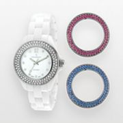 Peugeot Silver Tone and White Ceramic Crystal Watch Set - Made with Swarovski Elements - PS4910WT - Women