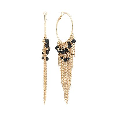Candie's Gold Tone Bead and Fringe Hoop Earrings