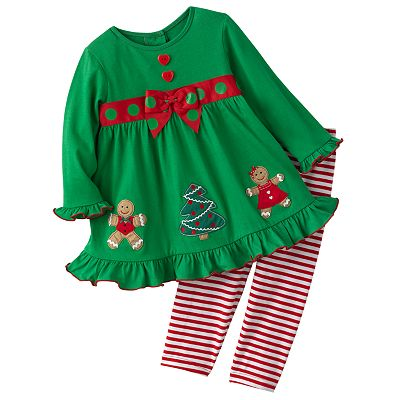 Sophie Rose Gingerbread Dress and Leggings Set - Baby