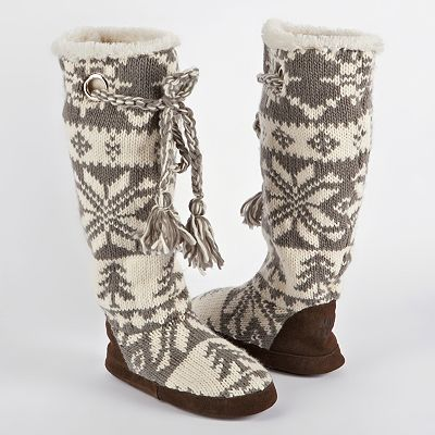 MUK LUKS Grace Knit Boot Slippers