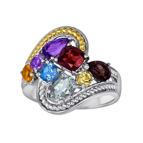 14k Gold Over Silver & Sterling Silver Gemstone Ring
