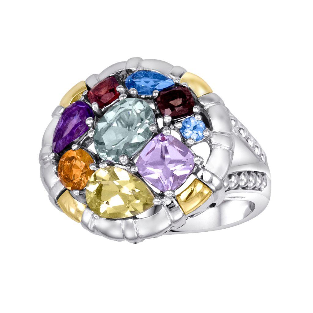 14k Gold Over Silver & Sterling Silver Gemstone Round Frame Ring