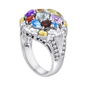 14k Gold Over Silver and Sterling Silver Gemstone Round Frame Ring