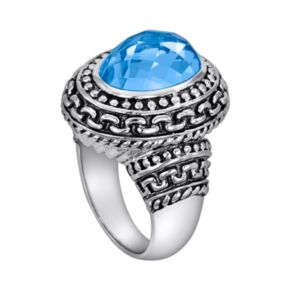 Sterling Silver Textured Blue Topaz Oval Frame Ring