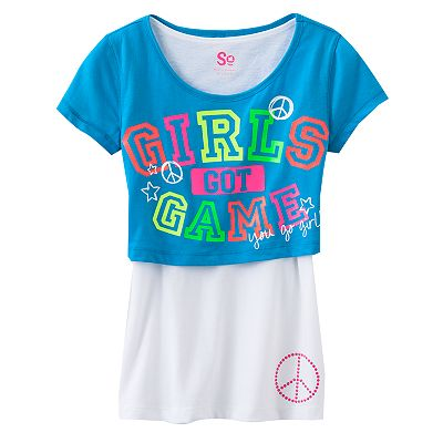 SO Girls Got Game Peace Crop Tee and Tank Set - Girls Plus