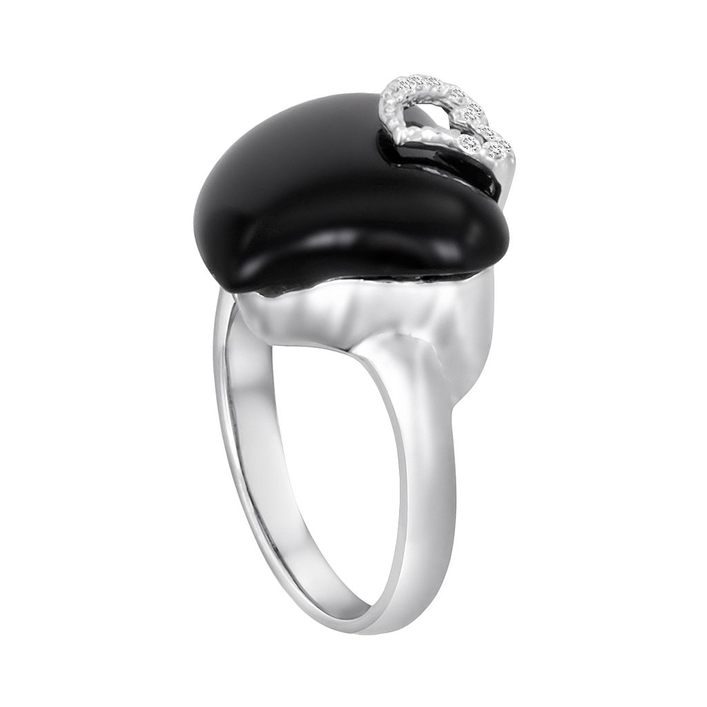 Sterling Silver White Topaz and Black Agate Heart Ring