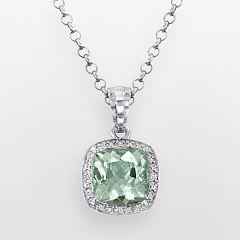 Sterling Silver Green Quartz and Diamond Accent Square Pendant