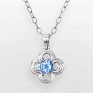 Sterling Silver Blue Topaz Flower Pendant