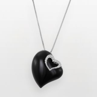 Sterling Silver White Topaz and Black Agate Heart Pendant