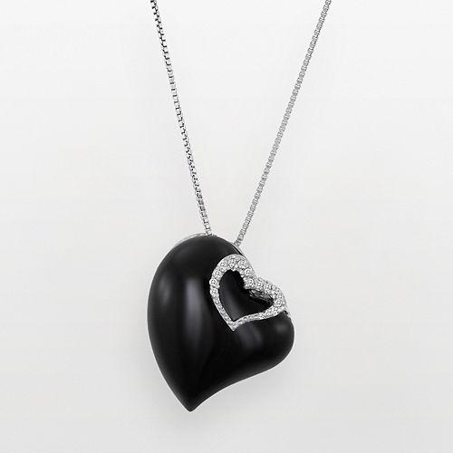 Sterling Silver White Topaz & Black Agate Heart Pendant