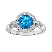 10k White Gold 3/8-ct. T.W. Diamond & Blue Topaz Frame Ring