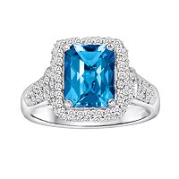 10k White Gold 5/8 ctT.W. Diamond & Blue Topaz Frame Ring