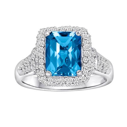 10k White Gold 5/8-ct. T.W. Diamond & Blue Topaz Frame Ring