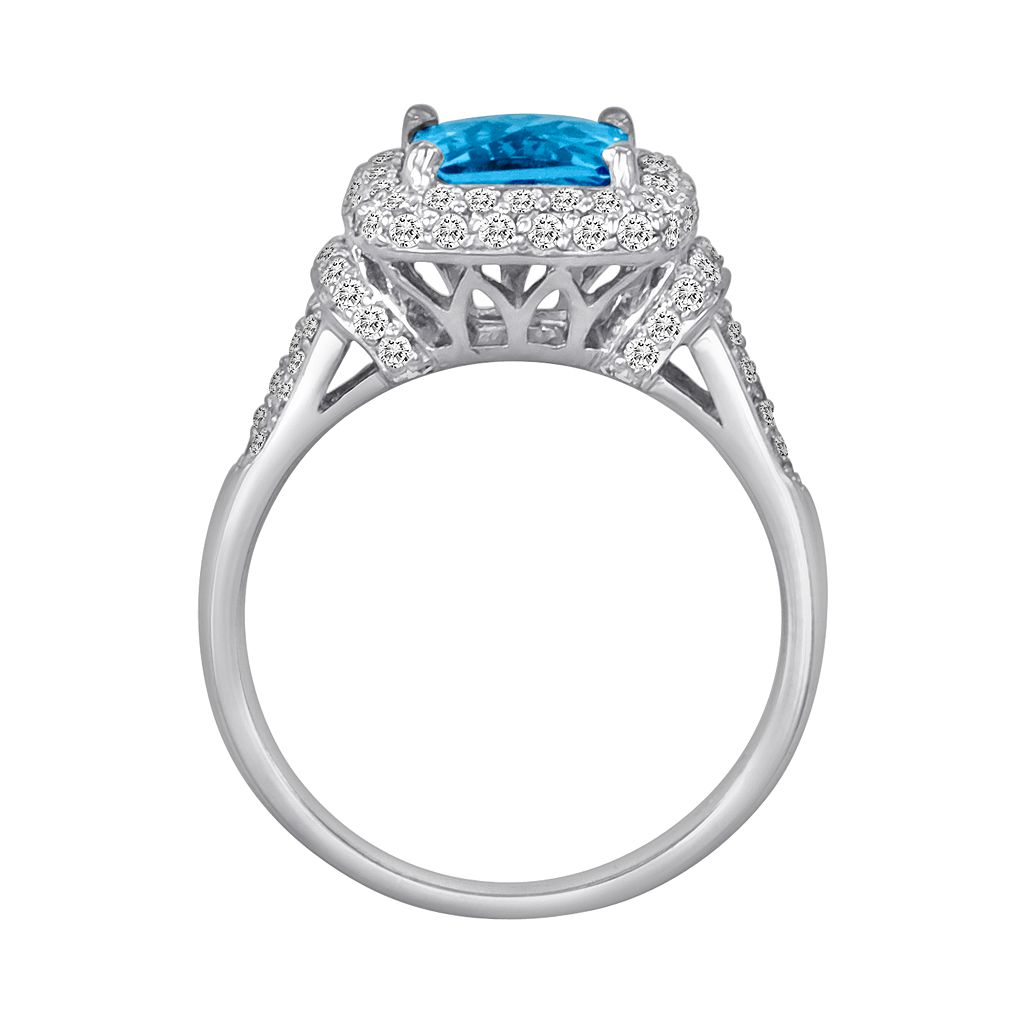 10k White Gold 5/8-ct. T.W. Diamond and Blue Topaz Frame Ring