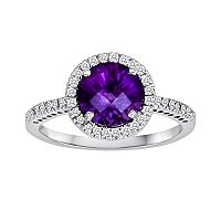 10k White Gold 1/5 ctT.W. Diamond & Amethyst Frame Ring