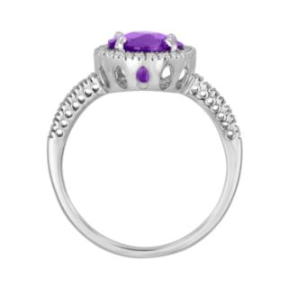 10k White Gold 1/5-ct. T.W. Diamond and Amethyst Frame Ring