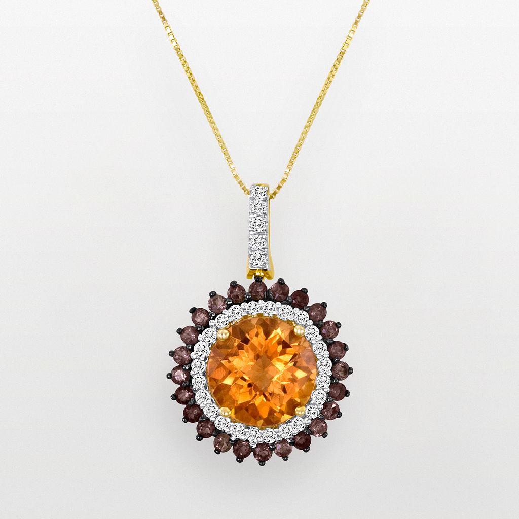 10k Gold 1/3-ct. T.W. Diamond, Smoky Quartz & Citrine Pendant