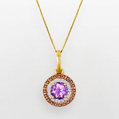10k Gold 3/8-ct. T.W. White & Champagne Diamond & Rose de France Pendant