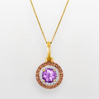 10k Gold 3/8-ct. T.W. White and Champagne Diamond and Rose de France Pendant