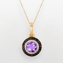 10k Rose Gold 1/10-ct. T.W. Diamond, Rose de France & Smoky Quartz Pendant