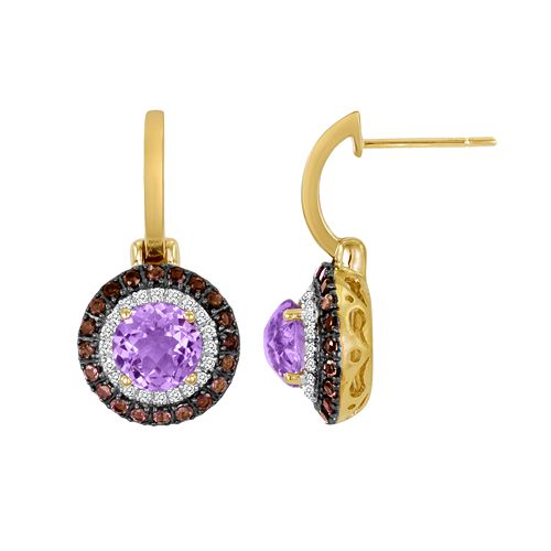 10k Gold 1/5-ct. T.W. Diamond, Rose de France & Smoky Quartz Drop Earrings