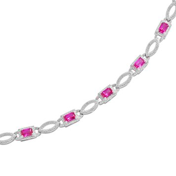 Sterling Silver Lab-Created Ruby & Diamond Accent Bracelet