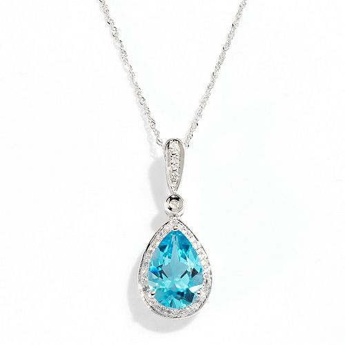 004e1cffb 0 item(s), $0.00. 14k White Gold Blue Topaz & Diamond Accent Teardrop  Pendant