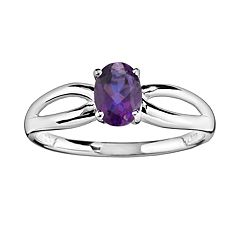 10k White Gold Amethyst Ring