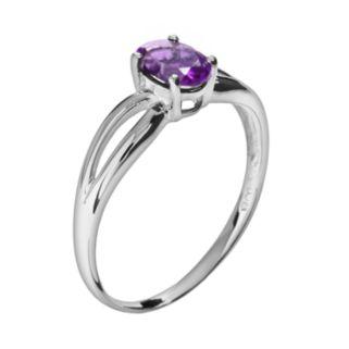 10k White Gold Amethyst Ring