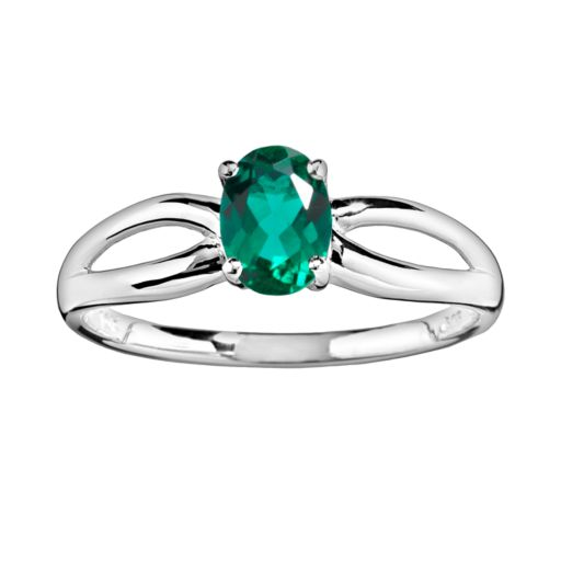 10k White Gold Lab-Created Emerald Ring