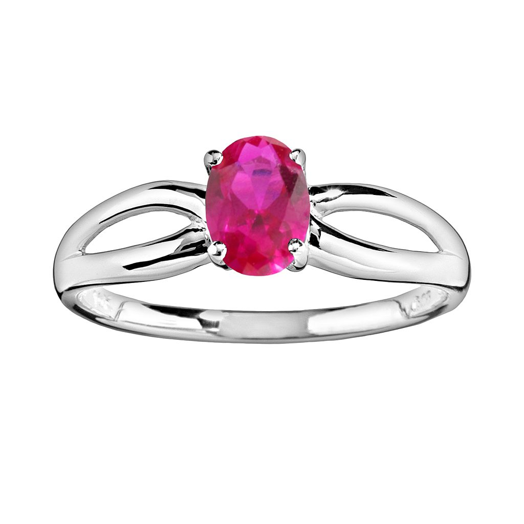 10k White Gold Lab-Created Ruby Ring