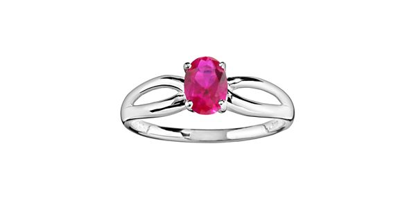 10k White Gold Lab Created Ruby Ring